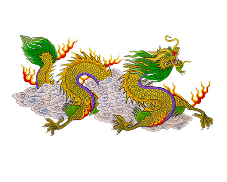 The Colorful of  painting dragon chinese style to isolate on white background