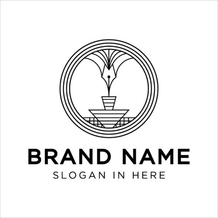 badge with line art style with pen and podium illustration and with Person face-to-face inside logo inspiration