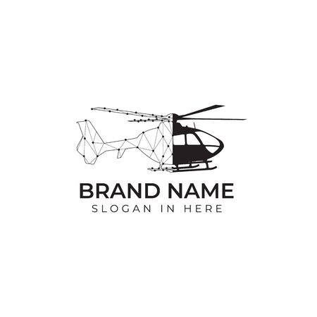 helicopter with city crypto and finance shaped inside logo vector design