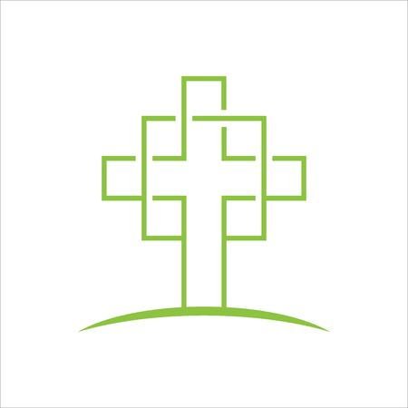 Church logo with line art connected with digital art style for Church community Çizim