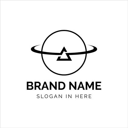 Triangle orbit planet logo vector design with line art style