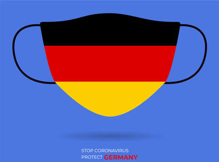 Coronavirus in GERMANY. Graphic Vector of surgical mask with GERMANY flag.2019-nCoV or CoVid-19. Medical face mask as concept of coronavirus quarantine. Coronavirus outbreak.use for printing eps File Stock Illustratie