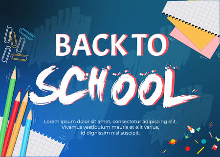 back to school banner, poster, flat design colorful, vector colorful pencil in blackboard with school items and elements. Vector illustration banner. Vektoros illusztráció