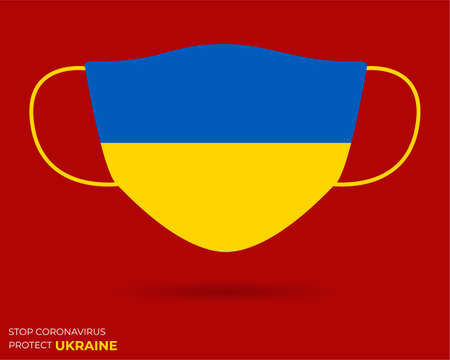 Coronavirus in UKRAINE. Graphic Vector of surgical mask with UKRAINE flag. (2019-nCoV or CoVid-19).Medical face mask as concept of coronavirus quarantine. Coronavirus outbreak. use for printing eps