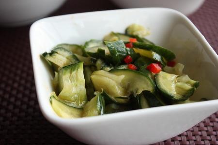 cucumbers: Chinese salad Broken cucumbers Stock Photo