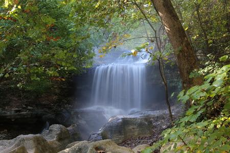 bella: Tanyard Creek waterfall at Tanyard Creek Park in Bella Vista, Arkansas