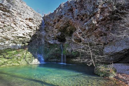 oklahoma: Dripping Springs Falls at Natural Falls State Park in Oklahoma Stock Photo