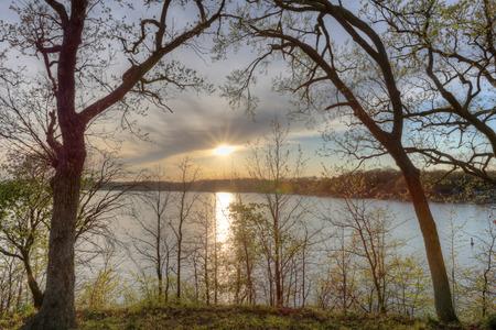 oklahoma: Sunset over Grand Lake Stock Photo