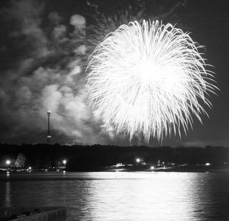 oklahoma: Fireworks over Grand Lake in Oklahoma Stock Photo