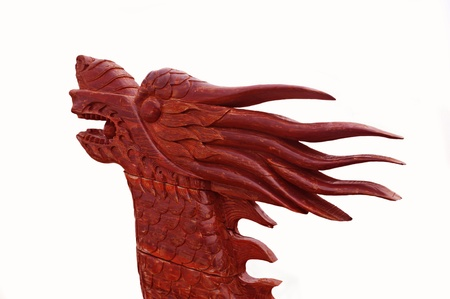 Face of the red wooden dragon isolated Stock Photo - 12352932
