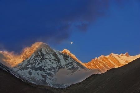 The himalayan mountains at sunrise