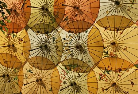Bright chinese umbrellas in the form of decoration  Stock Photo