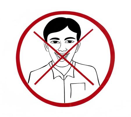 Prohibiting laugh symbol on a white background  Stock Photo