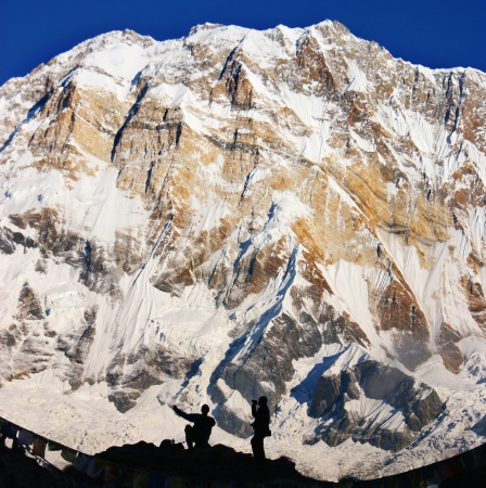 One of the highest peaks of the world - Annapurna in the Himalayas. Stock Photo