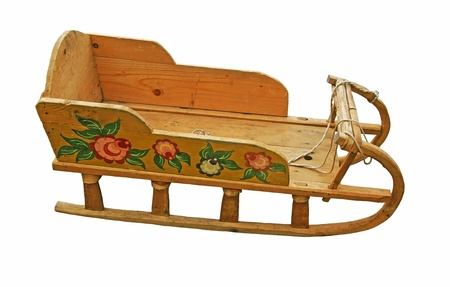 Wooden national Russian childrens sledges.