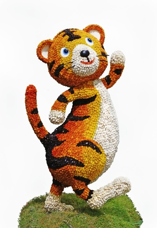 Figure merry tiger is made from the flowers of a willow.