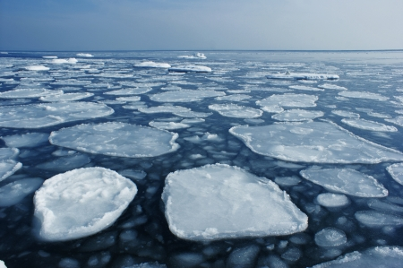 Rounded ice floe to the sea to the horizon.