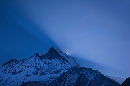 Early blue sunrise over Annapurna in the Himalayas.