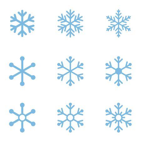 Blue Snowflake Icon Set on White Imagens