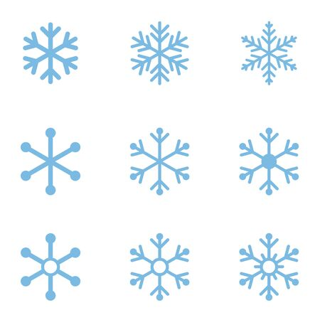 Icono de copo de nieve azul en blanco Foto de archivo