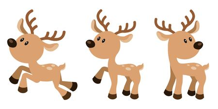 Cute Deer Vector Illustration Set