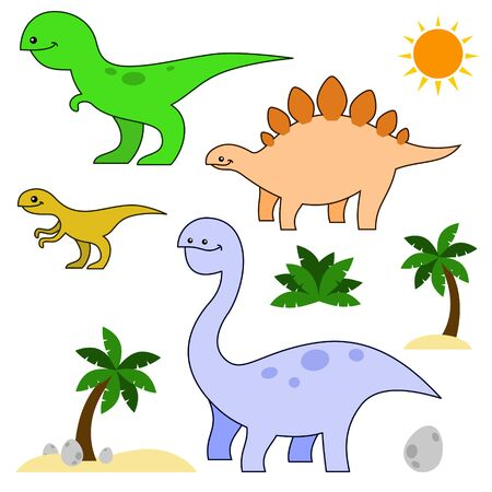 Cute Dinosaur Cartoon Vector Set on White