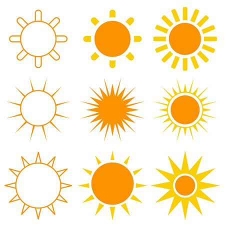 Colorful Sun Vector Set of 9 on White