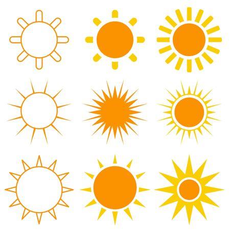 Vector de sol colorido conjunto de 9 en blanco