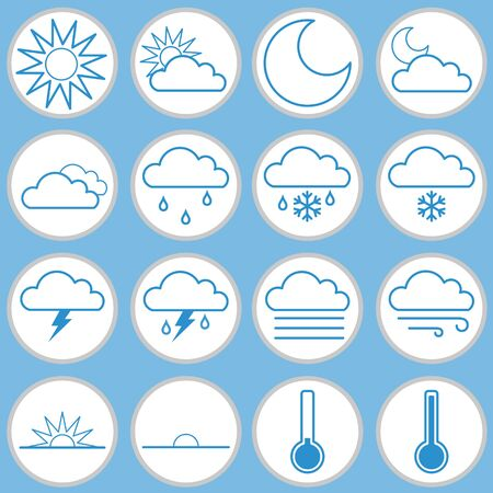 Weather Icon Stickers Vector Set on Blue