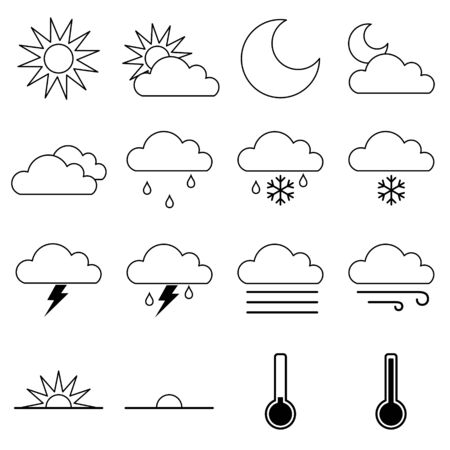 Weather Icon Outlines Vector Set on White