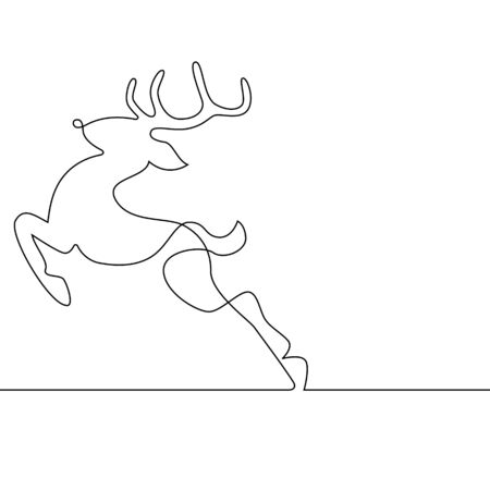 Reindeer Leaping Continuous Line on White