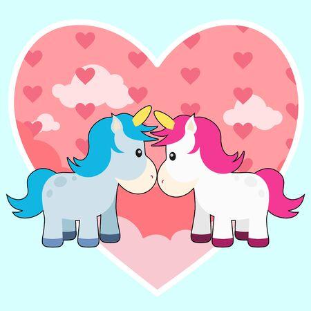 Cute Unicorn Couple Vector Illustration Background