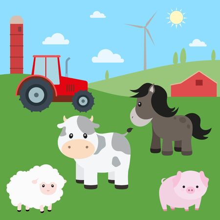 Cute Farm Animals Vector Set with Country Backdrop