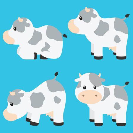 Cute Cow Vector Illustration Set on Blue