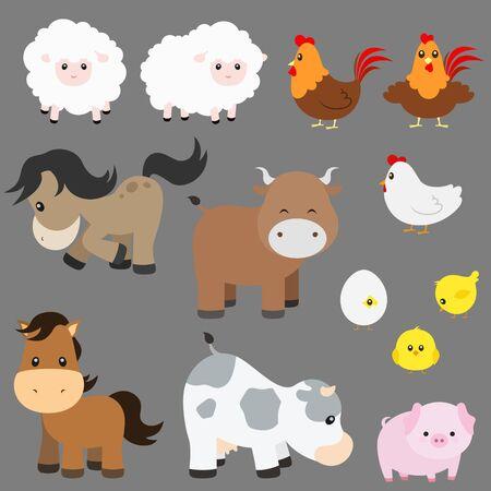 Farm Animal Illustration Set on Grey Background