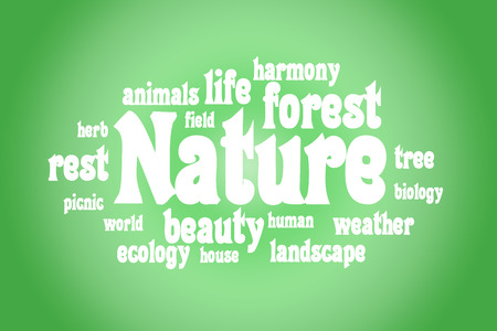 semantic: Association to the word Nature. White letters on a green background