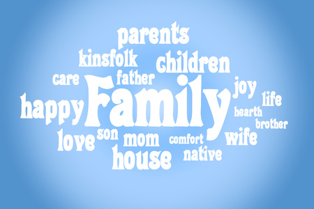 semantic: Association to the word family. White letters on a blue background