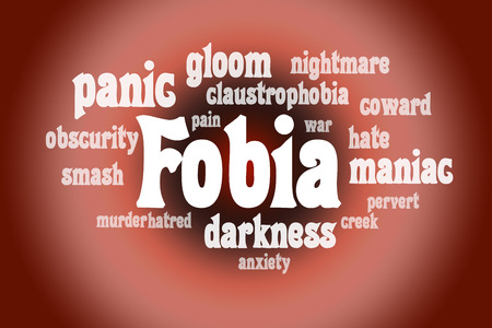 pervert: Association to the word Fobia. White letters on a red background