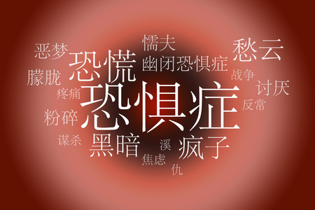 pervert: Association to the word Fobia Chinese . White letters on a red background