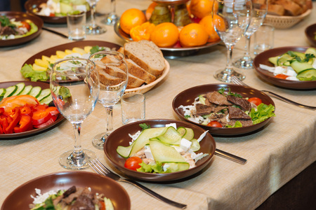 catering food: Beautifully decorated catering banquet table with different food