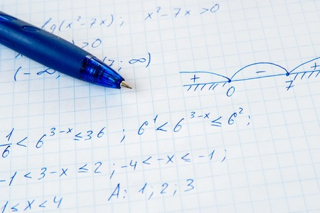 equations: Squared sheet of paper filled with trigonometry math equations and formulas