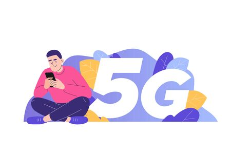 5G network wireless technology concept. Young happy man sitting near big 5G sign and using smartphone gadget. High-speed mobile internet connection. Innovation. Isolated vector, web illustration