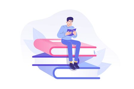 Young man or boy reading a book sitting on huge books. Studying or preparing for examinations. Literature fans or lovers concept. Book festival, fair or students education. Vector illustration