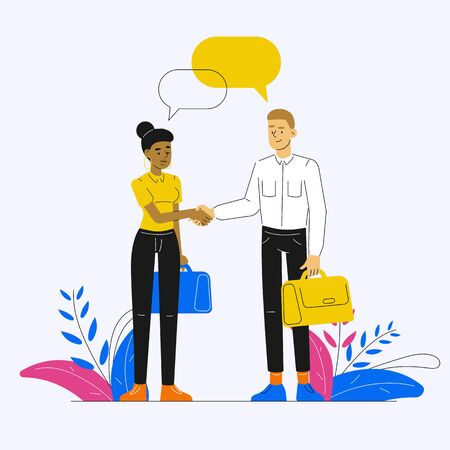 Business man and business woman shaking hands and discussing social networks. Speech bubbles, chat, social media, conversation, dialogues, discussion. Standing people vector cartoon illustration.