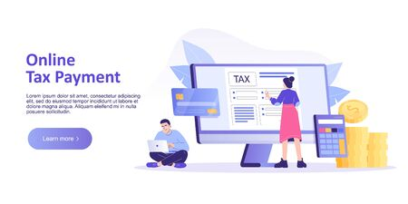 Online Tax Payment Concept. Young people filling application for Tax Form Statement. Online Tax Submitting System. Landing or Homepage Template. Isolated modern vector illustration for web banner 向量圖像