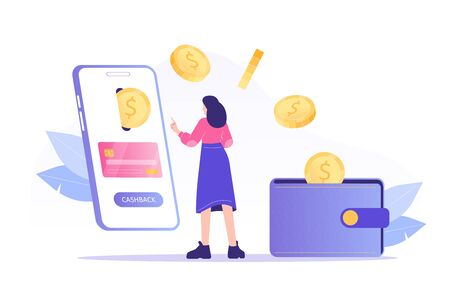 Online cashback concept. Young woman receiving cashback for a buyer. Coins or money transfer from smartphone to e-wallet. Online banking. Saving money. Money refund. Isolated vector illustration