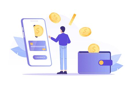 Online cashback concept. Young man receiving cashback for a buyer. Coins or money transfer from smartphone to e-wallet. Online banking. Saving money. Money refund. Isolated vector illustration Foto de archivo - 150295584
