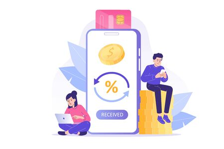 Online cashback concept. Happy people receiving cashback for a buyer. Coins or money transfer from smartphone to e-wallet. Online banking. Saving money. Money refund. Isolated vector illustration Vectores