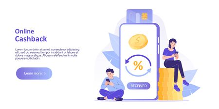 Online cashback concept. Happy people receiving cashback for a buyer. Online banking. Saving money. Money refund. Reward. Landing page template for web banner. Modern isolated vector illustration Vectores