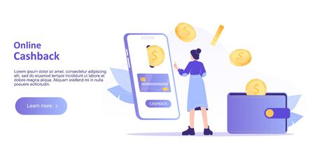 Online cashback concept. Happy woman receiving cashback for a buyer. Online banking. Saving money. Money refund. Reward. Landing page template for web banner. Modern isolated vector illustration Foto de archivo - 150294536